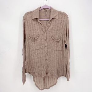 Free People Beach Sheer Button Up Shirt